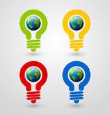 Light bulb earth icons — Stock Vector