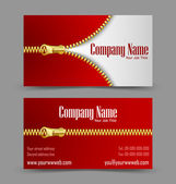 Zipper theme business card — Stock Vector
