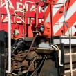 Detail of a diesel north american locomotive — Stock Photo