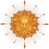 Decorative sun emblem — Stock Vector