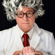 Stock Photo: Funny Professor and Brain