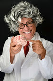 Funny Professor and Brain — Stock Photo