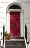 Traditional house entrance door in London — Stock Photo