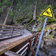 Slippery sign on the road in in the woods — Stock Photo