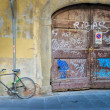 Old broken bicycle by old worn wooden textured door — Stock Photo
