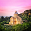 San Biagio cathedral at sunset - square, Montepulciano, Italy — Stock Photo