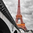 Stock Photo: Eiffel tower monochrome and red