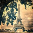Stock Photo: Eiffel tower monochrome vintage