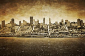 San Francisco vintage view from Alcatraz — Stock Photo