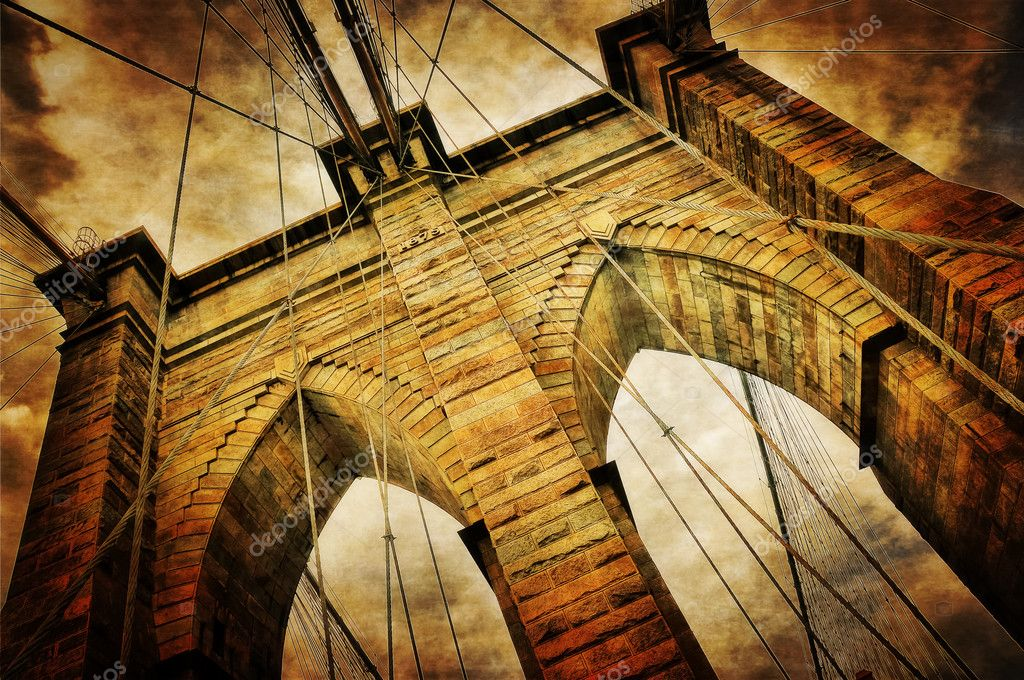 Brooklyn bridge vintage view  Stock Photo #11380489