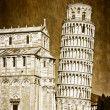 Leaning tower of Pisa vintage - Stock Photo