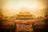 Forbidden city vintage view, Beijing, China — Stock Photo