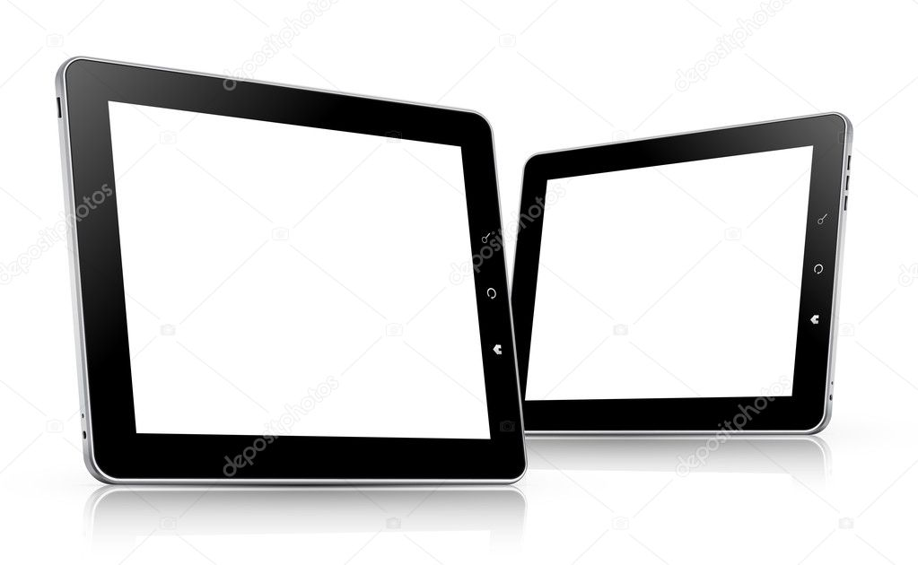 Realistic black and white tablet computers with blank screen isolated on white background — Stock Vector #11427801
