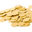 Golden coins isolated on white - 图库照片