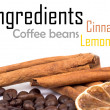 Cinnamon, lemon and coffee beans - Stock Photo