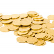 Golden coins isolated on white - Stockfoto