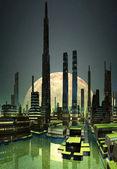 虚构的城市天际线 — 图库照片