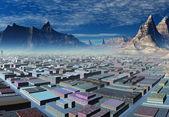Dağlar arasında şehir manzarası — Stok fotoğraf