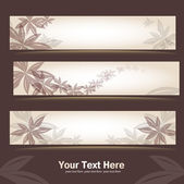 Set of retro floral banners — Stock Vector