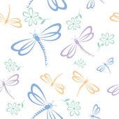 Seamless mönster med dragonfly och blomma — Stockvektor