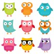 Owls set — Stock Vector