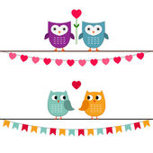 Owl couples set — Stock Vector
