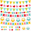 Stock Vector: Bunting and garland set