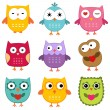 Stock Vector: Owls set