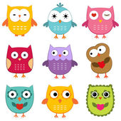 Owls set — Vecteur