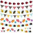 Summer garden bunting and garland set. - Stock Vector