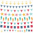 Marine bunting and garland set — Stock Vector #11805792