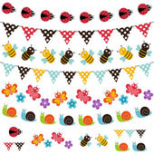 Summer garden bunting and garland set. — Stock Vector
