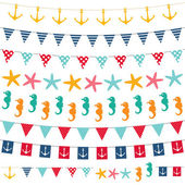 Marine bunting and garland set — Vector de stock