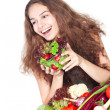 Woman with vegetables — Stock Photo
