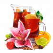 Постер, плакат: Refreshment beverage in pitcher and glass with fruits and spice