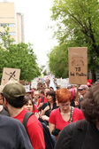 Red demonstration in Montreal street — Stock Photo
