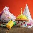 Birthday yellow cupcake — Stock Photo
