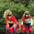 Super heros team girls — Stock Photo