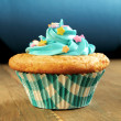 Blue cupcake — Stock Photo