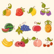 Cartoon fruit set - Stock Vector