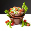 Bowl of rice with tomatoes and peas — Stock Photo