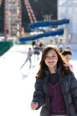 Young Woman Having Fun While Ice Skating — Photo