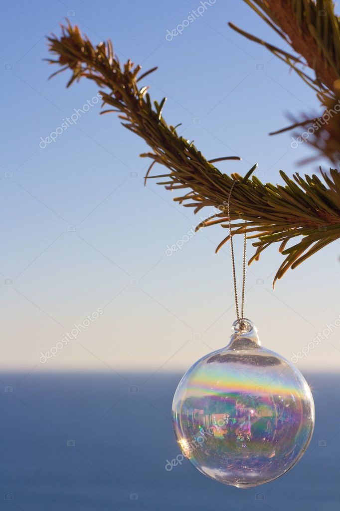 Christmas Ornament On A Tree In Front Of The Blue Sea — Zdjęcie stockowe #12023604