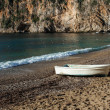 Stock Photo: Old White Boat On Beach In France