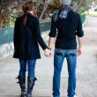Young Couple Walking In A Park Holding Hands - Stock Photo
