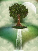 Tree in a fantasy landscape — Stock Photo