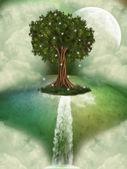 Tree in a fantasy landscape — Stock Photo