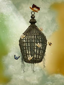 Cage with butterflies — Stock Photo