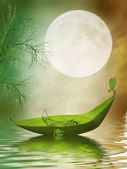 Fantasy leaf boat — Stock Photo
