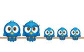 Blue birds family — Stock Vector
